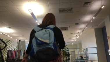 Accidental teen upskirt at public library