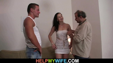 Very old man ask a guy satisfy his young wife