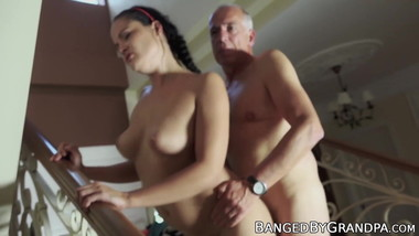 Young babe is happy to be drilled by an old guy doggy style