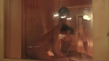 Guy and Girl sex in sauna