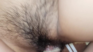 small tits asian babe hairy pussy fucked hard by her guy