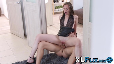 Petite seductress takes cum in mouth after cowgirl riding