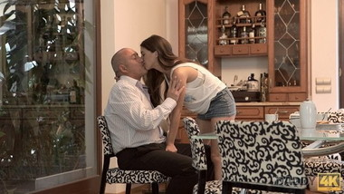 DADDY4K. Old man kisses, licks and fucks young beauty