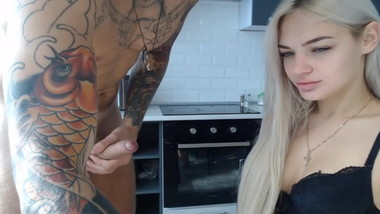 Hot Blondie gives a Blowjob and Deepthroat