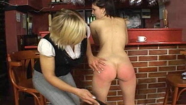 Customer spanked naked by bar tender in public bar