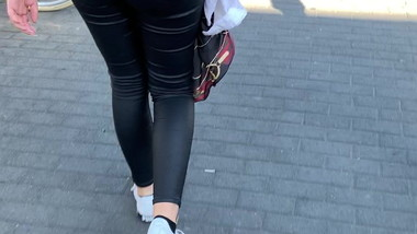 Sexy Teen Walking in Leather Pants