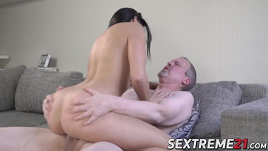 Younger babe with natural tits banged hard by an older guy