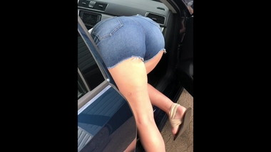 PAWG Girlfriend Bending Over in Shorts