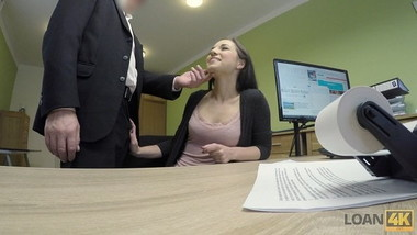 LOAN4K. Serious loan agent drills asshole of pretty brunette
