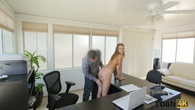 LOAN4K. Loan manager perform dirty casting for girl in his